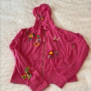 JWLA Pink Cotton Embroidered Hoodie Size Small